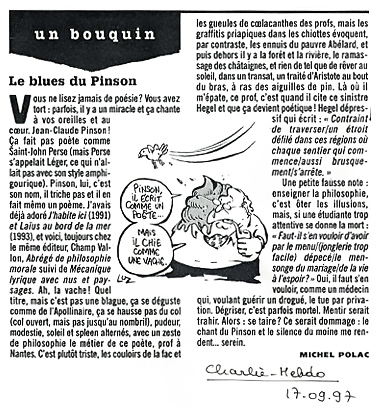 """Le blues du Pinson"", Michel Polac, in Charlie Hebdo, 17 septembre 1997"