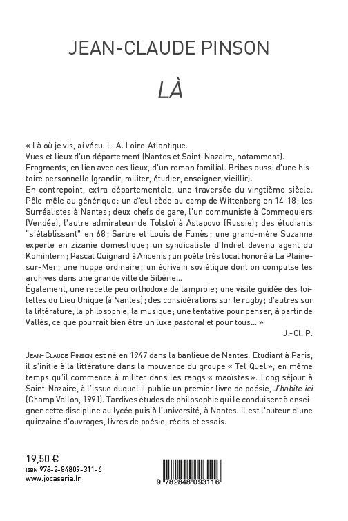 À paraître : Là (L.-A., Loire-Atlantique, Variations autobiographiques et départementales)