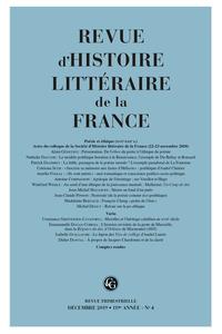 Revue d'Histoire Littéraire de la France, Poésie et éthique (XVè-XXIè s.)